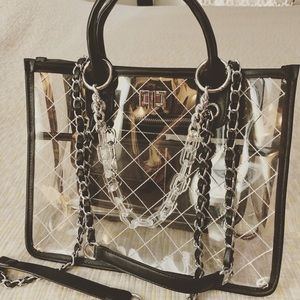 Handbags - Clear PVC Tote Bag with Quilting and Turnlock